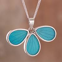 Natural leaf pendant necklace, 'Daisy Wings' - Aqua Hydrangea Leaf and Sterling Silver Pendant Necklace