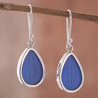 Natural leaf dangle earrings, 'Petal Essence in Blue' - Blue Hydrangea Leaf Sterling Silver Teardrop Dangle Earrings