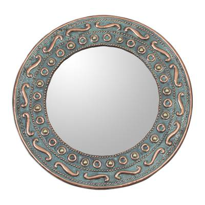 Colonial Copper and Bronze Wall Mirror from Peru