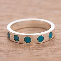 Chrysocolla band ring, 'Cardinal Dots' - Circle Motif Chrysocolla Band Ring from Peru
