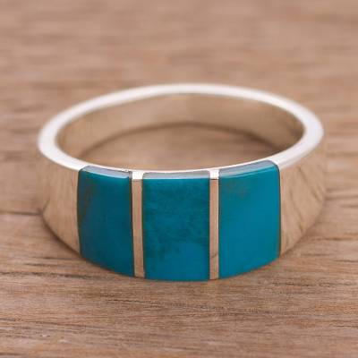 Chrysocolla band ring, 'Inca Fortress' - Rectangular Chrysocolla Band Ring from Peru