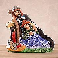 Ceramic figurine, 'Serene Family' - Handcrafted Multi-Color Andean Nativity Ceramic Figurine