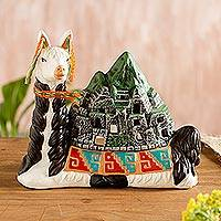 Ceramic figurine, 'Llama as Protector' - Handcrafted Llama and Machu Picchu Ceramic Figurine
