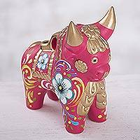 Ceramic figurine, 'Festive Bull' - Fuchsia and Multi-Color Floral Motif Ceramic Bull from Peru