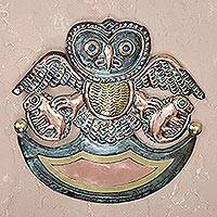 Copper and gemstone wall art, 'Ceremonial Owl' - Green Patina and Polished Copper and Bronze Owl Wall Art