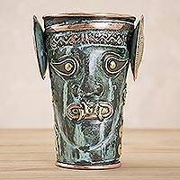 Copper decorative vase, 'Feline Deity' - Green Patina and Polished Copper and Bronze Decorative Vase