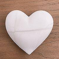 Alabaster figurine, 'Fullest Love' - Handmade Alabaster Heart Figurine from Peru