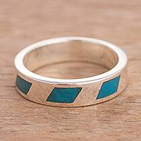 Chrysocolla band ring, 'Modern Currents' - Modern Chrysocolla Band Ring from Peru