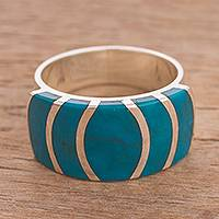 Chrysocolla cocktail ring, 'Oceanic Expansion' - Chrysocolla Cocktail Ring Crafted in Peru