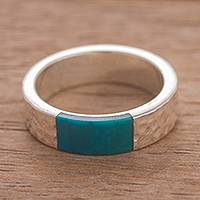 Chrysocolla band ring, 'Reef Siren' - Rectangular Chrysocolla Band Ring ftom Peru