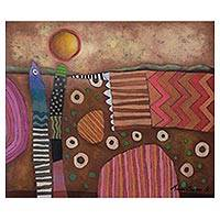 'Seeds' - Signed Original Abstract Painting in Brown from Peru