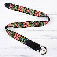 Wool belt, 'Pink Daisies' - Black and Colorful Floral Motif Embroidered Wool Woven Belt