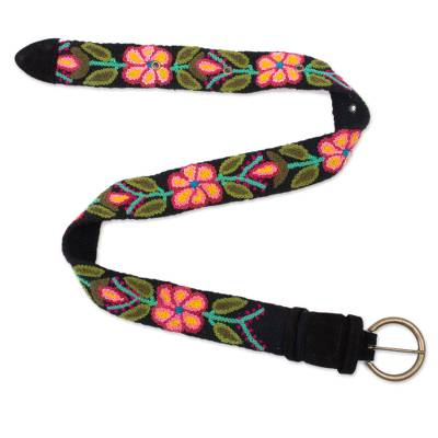 Black and Colorful Floral Motif Embroidered Wool Woven Belt
