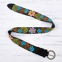 Wool belt, 'Daisy Parade' - Colorful Embroidered Floral Motif on Black Wool Woven Belt