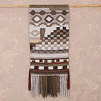 Wool tapestry, 'Earth Goddess' - Handwoven Earthtone Wool Tapestry from Peru