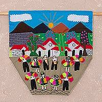Cotton blend wall hanging, 'Dance of Freedom' - Dance-Themed Cotton Arpillera Wall Hanging from Peru
