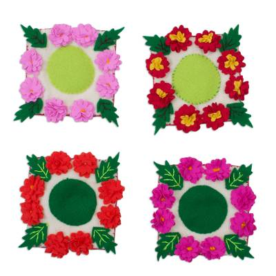 Handmade Floral Cotton Blend Coasters from Peru