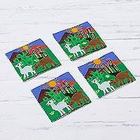 Cotton blend coasters, 'Andean Life' (set of 4) - Animal-Themed Cotton Blend Arpillera Coasters (Set of 4)