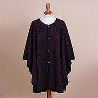 100% alpaca reversible ruana, 'Twilight on the Veranda' - Reversible Plum and Black 100% Baby Alpaca Knit Ruana