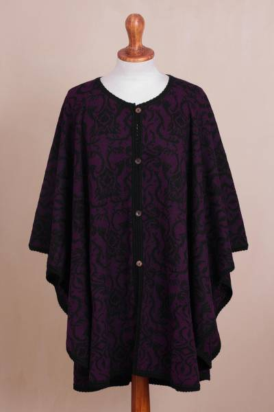 100% baby alpaca reversible ruana, 'Twilight on the Veranda' - Reversible Plum and Black 100% Baby Alpaca Knit Ruana