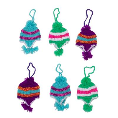 Assorted Colors Miniature Hand-Knit Hat Ornaments (Set of 6)