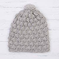 100% alpaca knit cap, 'Dove Feather' - Hand Knit Dove Grey 100% Alpaca Multi-Textured Hat