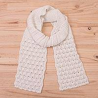 100% alpaca scarf, 'Milky River' - Hand Knit Antique White 100% Alpaca Multi-Textured Scarf