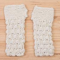 100% alpaca fingerless gloves, 'Milky River' - Hand Knit Off White Alpaca Multi-Textured Fingerless Gloves