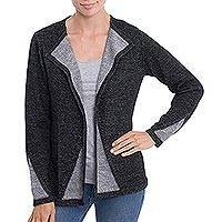Alpaca blend sweater jacket, 'Chic Peek' - Black and Grey Alpaca Blend Open Front Sweater Jacket