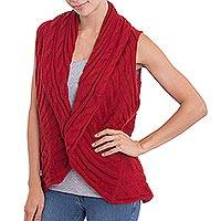 Alpaca blend cardigan, 'Crimson Texture' - Textured Alpaca Blend Cardigan in Crimson from Peru