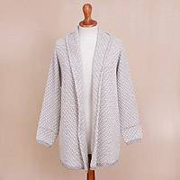 Alpaca blend sweater jacket, 'Dove Down' - Off-White and Grey Alpaca Blend Relaxed Fit Cardigan Sweater