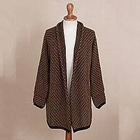Alpaca blend cardigan, 'Hickory Coffee' - Brown and Black Alpaca Blend Relaxed Fit Cardigan Sweater