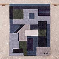 Wool tapestry, 'Cityscape Impressions' - Blue Grey Green Abstract Geometric Motif Wool Tapestry