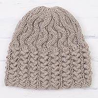 100% alpaca knit cap, 'Sound Waves' - Hand Knit Mushroom Brown Cable and Rib Pattern Alpaca Hat