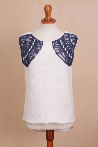 Cotton sleeveless sweater, 'Azure Breeze' - White Cotton Sweater with Crocheted Azure Accents from Peru
