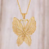 Gold plated sterling silver filigree pendant necklace, 'Gold Butterfly' - Gold Plated Sterling Silver Filigree Butterfly Necklace