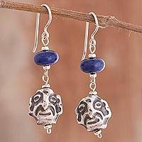 Sodalite dangle earrings, 'Chavin Warrior' - Pre-Hispanic Sodalite Dangle Earrings from Peru