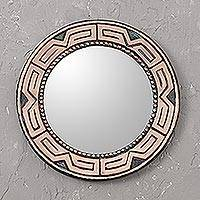 Copper mirror, 'Tiwanaku Form' - Circular Combination Finish Copper Wall Mirror from Peru