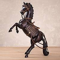 Wood sculpture, 'Spirited' - Cedar Wood Hand Carved Spirited Horse Sculpture from Peru