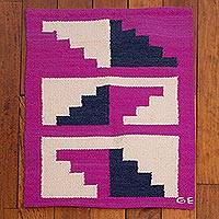 Wool area rug, 'Fuchsia Stairs' (2x3) - Wool Area Rug with Geometric Motifs in Fuchsia (2x3)