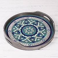 Reverse-painted glass tray, 'Floral Intricacy in Steel' - Steel-Tone Reverse-Painted Glass Tray from Peru