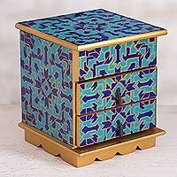 Reverse painted glass jewelry box, 'Blue Intricacy' - Reverse Painted Glass Jewelry Box in Blue from Peru