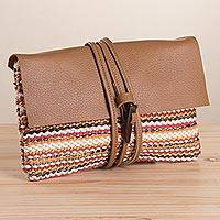 Leather accent cotton blend clutch, 'Andean Valley Sunset' - Colorful Stripe Handwoven Cotton Blend Leather Accent Clutch