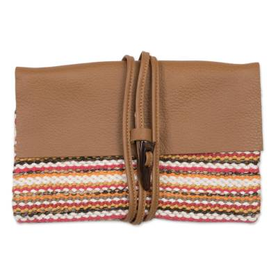Colorful Stripe Handwoven Cotton Blend Leather Accent Clutch