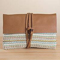 Leather accent cotton blend clutch, 'Beach Sky' - Multi-Color Handwoven Cotton Blend Leather Accent Clutch