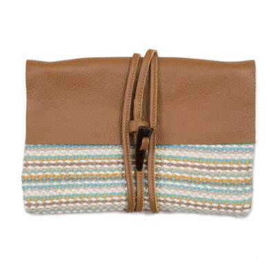 Multi-Color Handwoven Cotton Blend Leather Accent Clutch