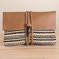 Leather accent cotton blend clutch, 'Majestic Mountain' - Earth Toned Handwoven Cotton Blend Leather Accent Clutch