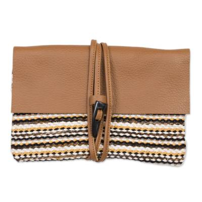 Earth Toned Handwoven Cotton Blend Leather Accent Clutch