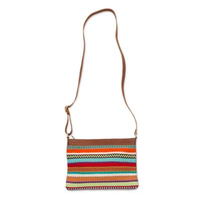 Colorful Handwoven Cotton Blend and Leather Shoulder Bag