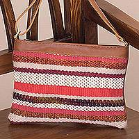 Leather accent cotton blend shoulder bag, 'Sorbet Stripes' - Striped Handwoven Cotton Blend and Leather Shoulder Bag